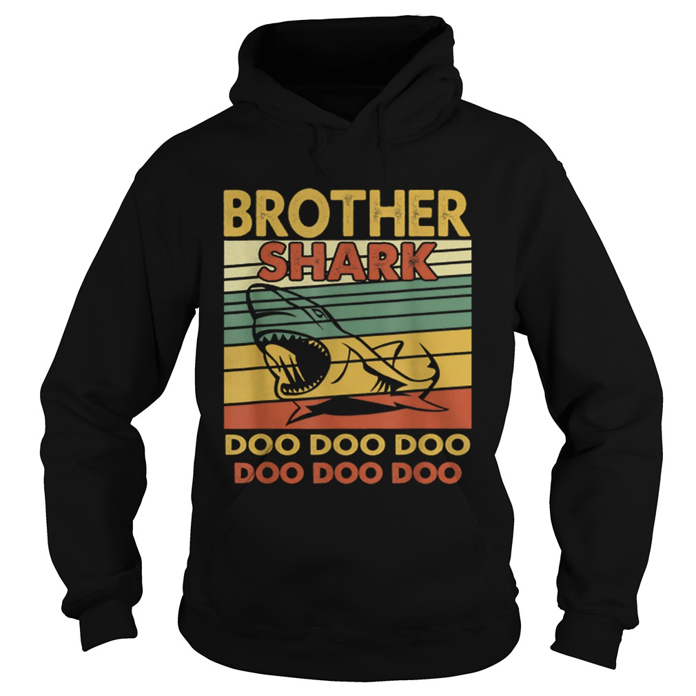 Vintage Brother Shark Doo Doo Santa Christmas Matching Gift  Hoodie