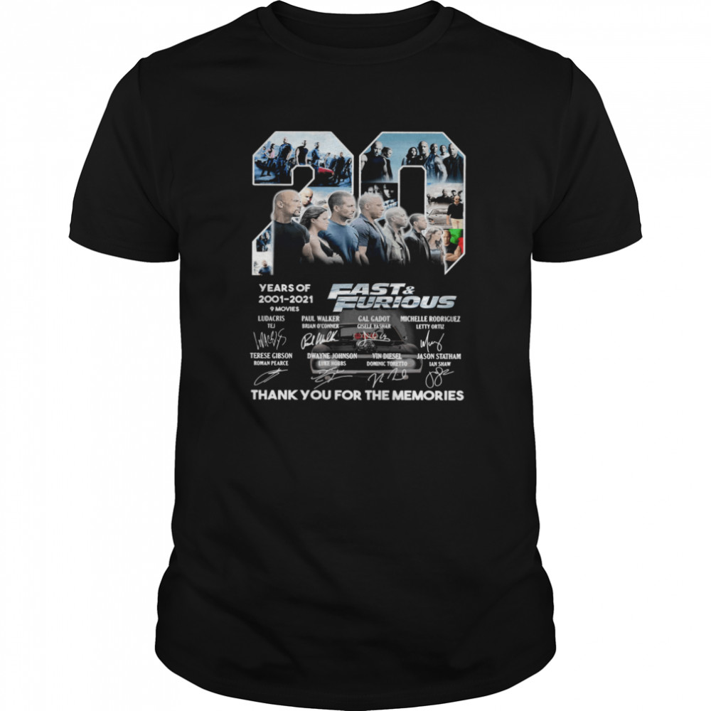 Fast and Furious 20 Years Of 2001 2021 Thank You For The Memories Signature Classic Men's T-shirt