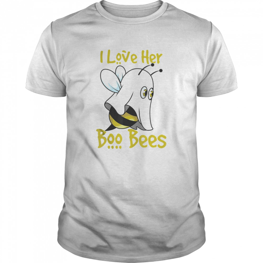 I Lover Her Boo Bees Halloween Matching Couple Costume His Classic Men's T-shirt
