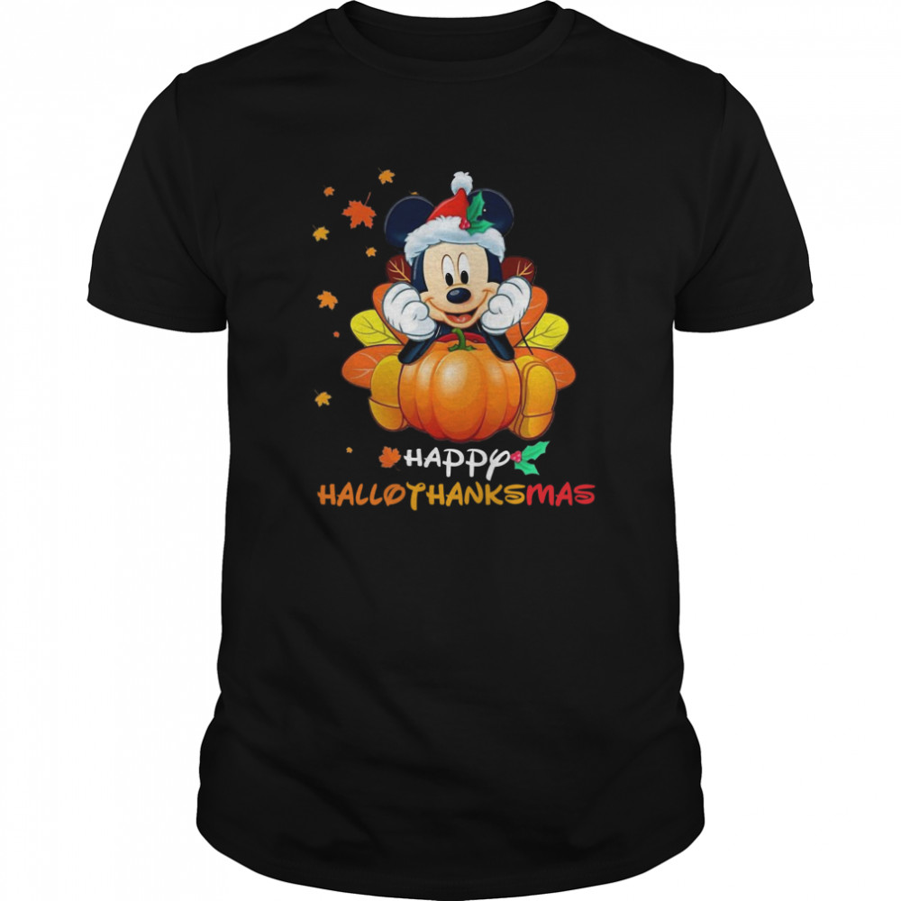 Mickey Mouse Pumpkin Happy Hallothanksmas Classic Men's T-shirt